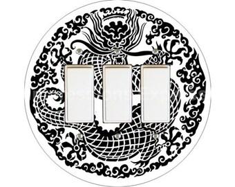 Oriental Dragon Triple Decora Rocker Switch Plate Cover