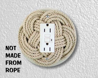 Turk's Head Knot Nautical Photo Round GFI Grounded Outlet Plate Cover