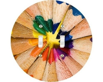 Pencil Color Wheel Double Toggle Switch Plate Cover