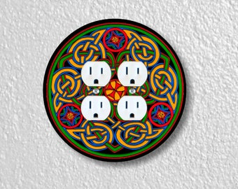 Celtic Knot Round Double Duplex Outlet Plate Cover