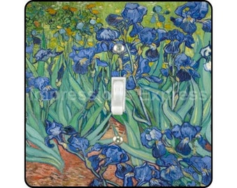 Vincent Van Gogh Irises Painting Square Single Toggle Light Switch Plate Cover