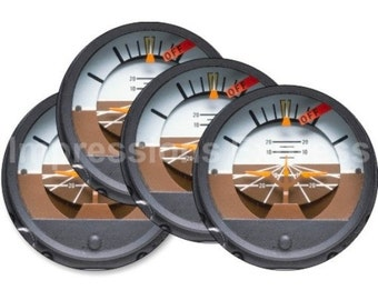 Attitude indicator Aviation Round Coasters - Set of 4