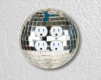 Disco Ball Round Double Duplex Outlet Plate Cover