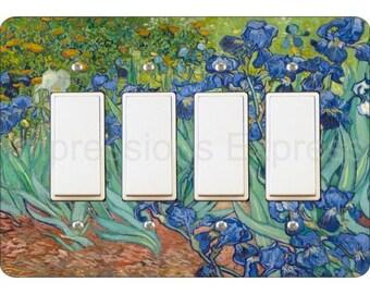 Van Gogh Irises Painting Quadruple Decora Rocker Light Switch Plate Cover