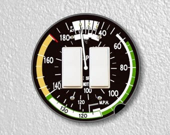 Aviation Airspeed Indicator Round Decora Double Rocker Switch Plate Cover
