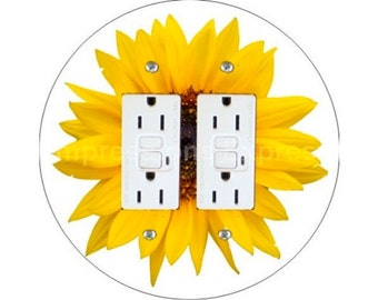 Sunflower Flower Double GFI Outlet Plate Cover