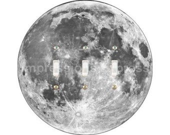 Moon from Space Triple Toggle Switch Plate Cover