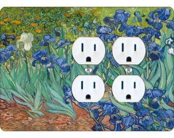 Van Gogh Irises Painting Double Duplex Outlet Plate Cover