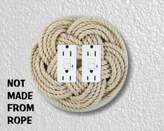 Turk's Head Knot Nautical Photo Round Double GFI Grounded Outlet Plate Cover