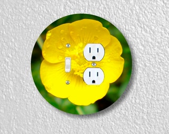 Buttercup Flower Round Toggle Switch and Duplex Outlet Double Plate Cover