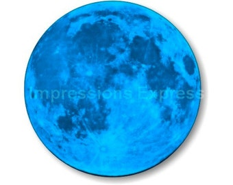 Blue Moon Space Round Mousepad