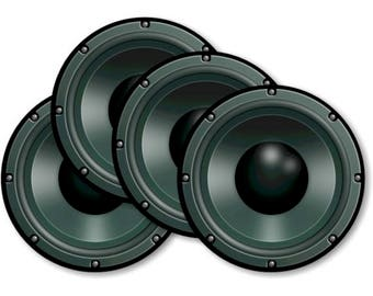 Black Music Loudspeaker Round Coasters - Set of 4