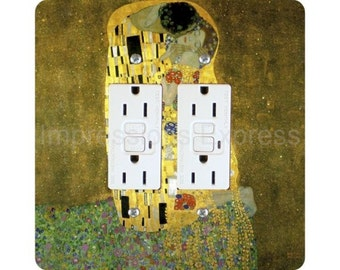 Gustav Klimt The Kiss Square Double Grounded GFI Outlet Plate Cover