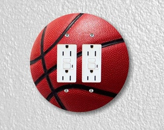 Burgundy Basketball Sport Round Double GFI Grounded Outlet Plate Cover