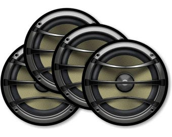 Audio Music Speaker Round Coasters - Set of 4
