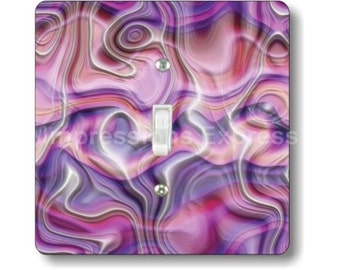 Purple Silk Ripple Square Single Toggle Light Switch Plate Cover