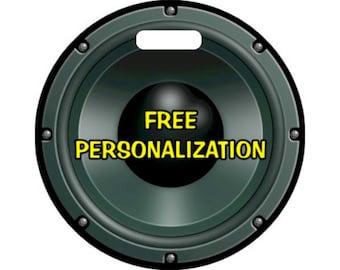 Black Music Loudspeaker Personalized Round Luggage Bag Tag
