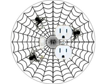 Spider Web Toggle Switch and Duplex Outlet Double Plate Cover
