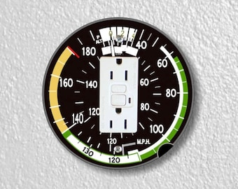 Aviation Airspeed Indicator Round Grounded GFI Outlet Plate Cover
