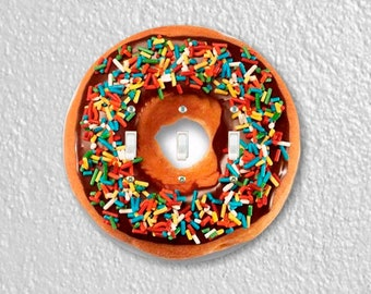 Doughnut Round Triple Toggle Switch Plate Cover