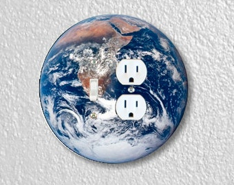Planet Earth from Space Round Toggle Switch and Duplex Outlet Double Plate Cover