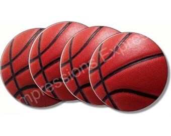 Burgundy Basketball Sport Coasters - Set of 4