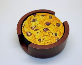 Chocolate Chip Cookie Coaster Set of 5 with Wood Holder