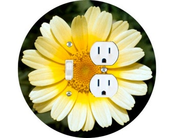Yellow Daisy Flower Toggle Switch and Duplex Outlet Double Plate Cover
