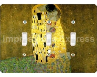 Klimt The Kiss Painting Triple Toggle Light Switch Plate Cover