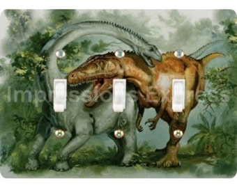 Rebbachisaurus and Giganotosaurus Dinosaur Triple Toggle Light Switch Plate Cover