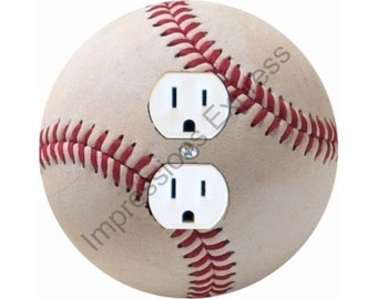 White Baseball Duplex Outlet Plate Cover