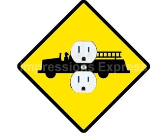 Fire Department Sign Duplex Outlet Plate Cover
