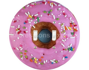 Pink Doughnut Double Toggle Switch Plate Cover