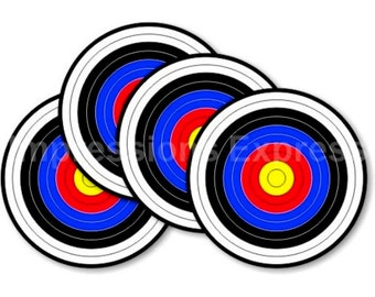 Archery Target Round Coasters - Set of 4