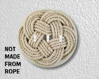 Turk's Head Knot Nautical Photo Round Triple Toggle Light Switch Plate Cover