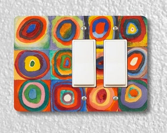 Kandinsky Squares With Concentric Circles Painting Double Decora Rocker Light Switch Plate Cover