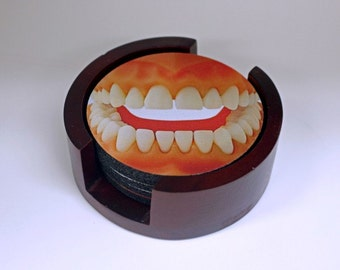 Limited Time Sale! Teeth Coaster Set of 5 with Wood Holder