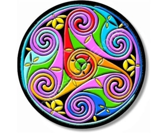 Celtic Triskel Round Rubber Backed Polyester Mousepad