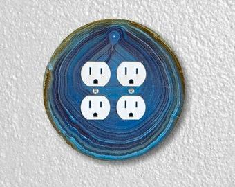 Blue Geode Stone Round Double Duplex Outlet Plate Cover