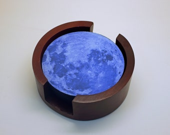Blue Moon Coaster Set of 5 with Wood Holder