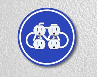 Bicycle Sign Round Double Duplex Outlet Plate Cover