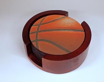 Burgundy Basketball Sport Coaster Set of 5 with Wood Holder