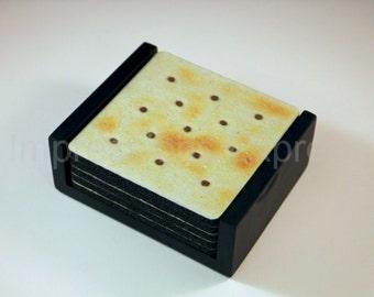 Saltine Cracker Square Coaster Set of 5 with Wood Holder