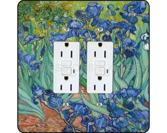 Vincent Van Gogh Irises Painting Square Double Grounded GFI Outlet Plate Cover