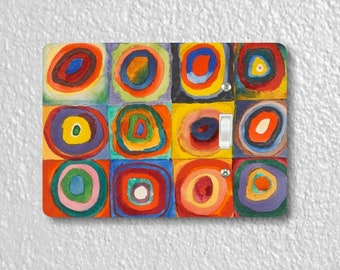 Kandinsky Squares With Concentric Circles Painting Single Toggle Light Switch Plate Cover