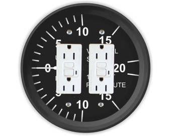 Vertical Speed Indicator Aviation Double GFI Outlet Plate Cover