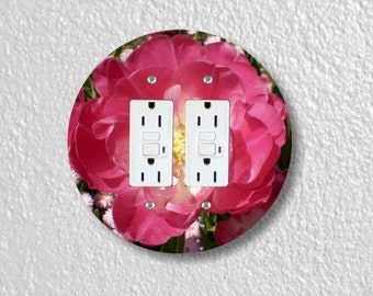 Double Tulip Flower Round Double GFI Grounded Outlet Plate Cover