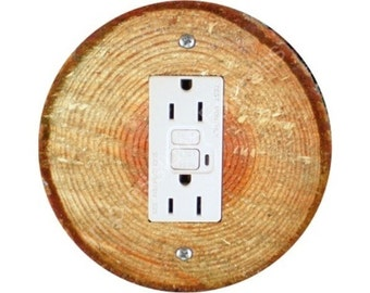 Tree Log GFI Outlet Plate Cover