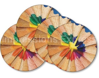 Pencil Color Wheel Coasters - Set of 4