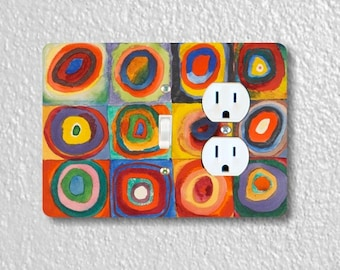 Kandinsky Squares With Concentric Circles Painting Toggle Switch and Duplex Outlet Double Plate Cover